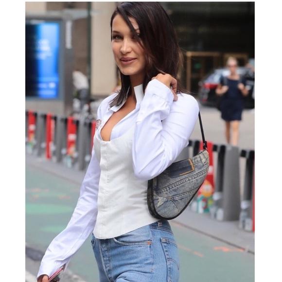 2882cec79a07 Dior Handbags - Dior Mini Denim  Caddy Canvas  Cloth Saddle Bag